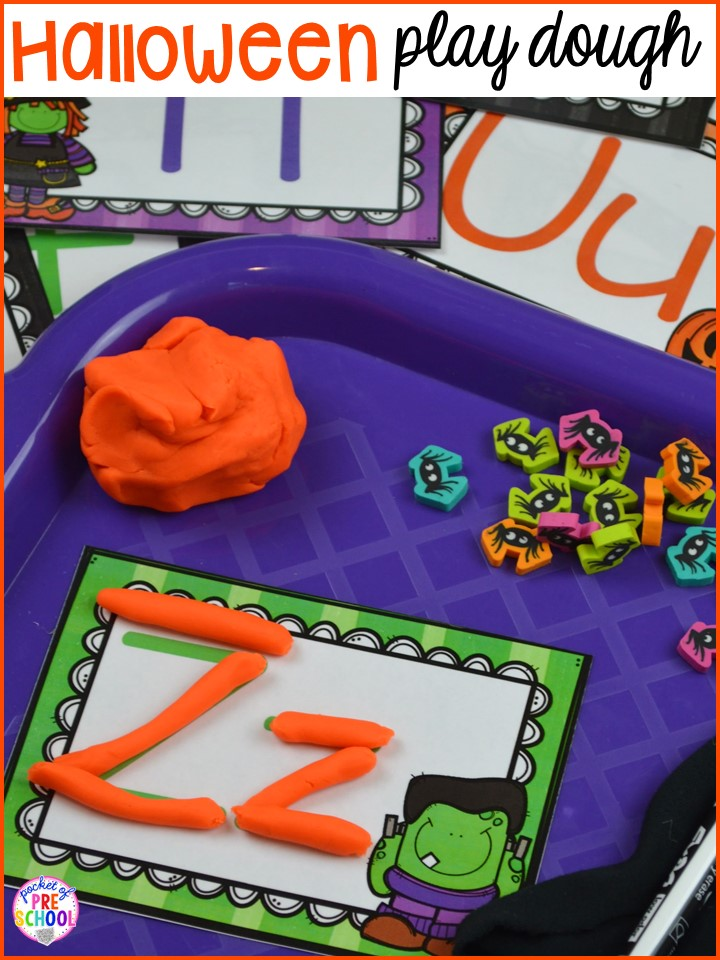 Halloween play dough letter mats! Plus my favorite Halloween activities and centers for preschool, pre-k, and kindergarten (art, math, writing, letters, blocks, STEM, sensory, fine motor). FREE printables... a mummy printable and witches brew counting recipe cards!