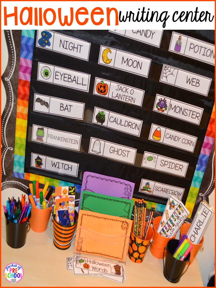 halloween writing center plus my favorite halloween activities and centers for preschool pre