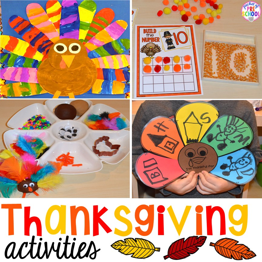 Thanksgiving Centers and Activities for preschool, pre-k, and kindergarten.