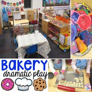 Change the dramatic play center into a bakery for your little learners!