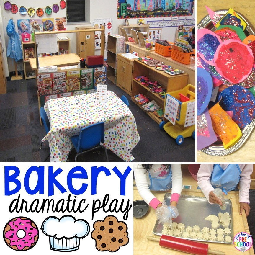 Bakery dramatic play for a gingerbread theme in a preschool, pre-k, or kindergarten classroom.