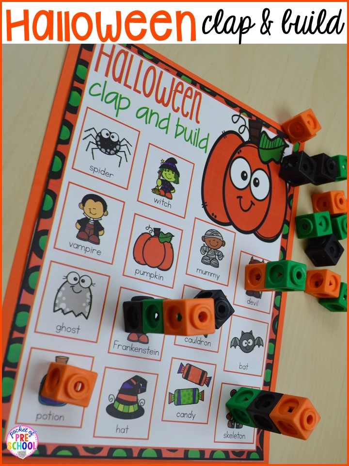 Halloween syllables game! Plus my favorite Halloween activities and centers for preschool, pre-k, and kindergarten (art, math, writing, letters, blocks, STEM, sensory, fine motor). FREE printables... a mummy printable and witches brew counting recipe cards!