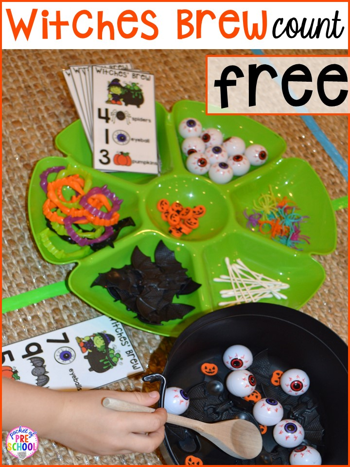 Witches brew counting FREEBIE! Plus my favorite Halloween activities and centers for preschool, pre-k, and kindergarten (art, math, writing, letters, blocks, STEM, sensory, fine motor). FREE mummy printable too.