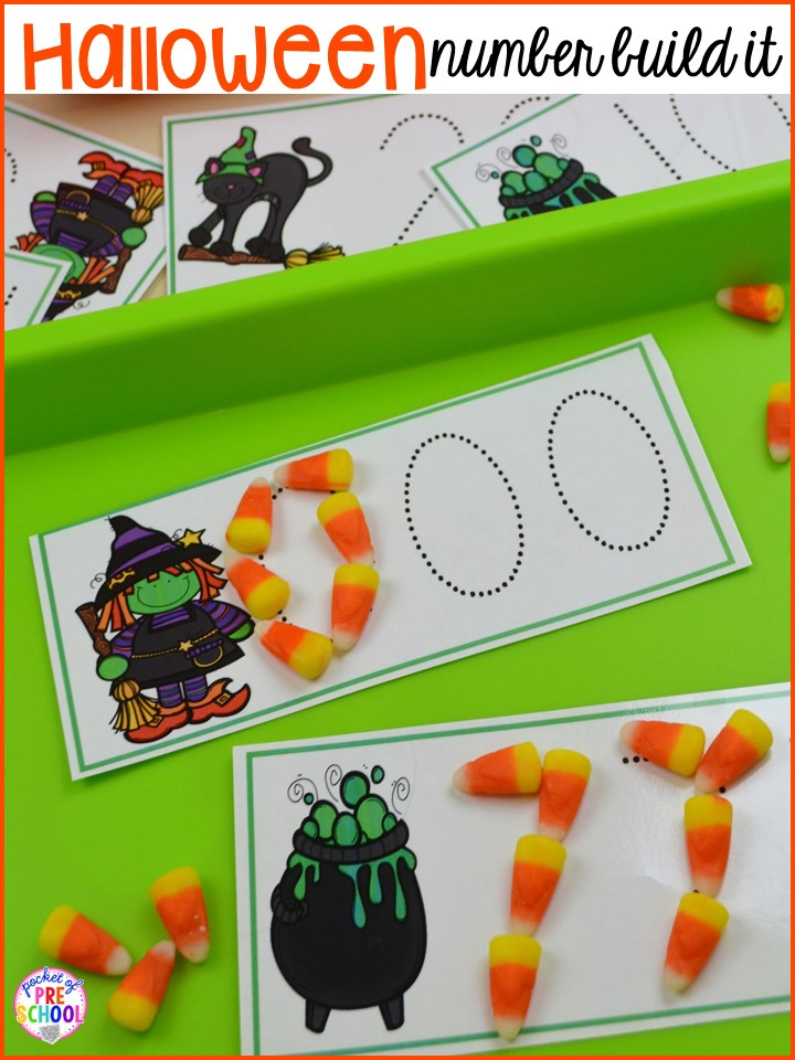 Halloween number trace! Plus my favorite Halloween activities and centers for preschool, pre-k, and kindergarten (art, math, writing, letters, blocks, STEM, sensory, fine motor). FREE printables... a mummy printable and witches brew counting recipe cards!