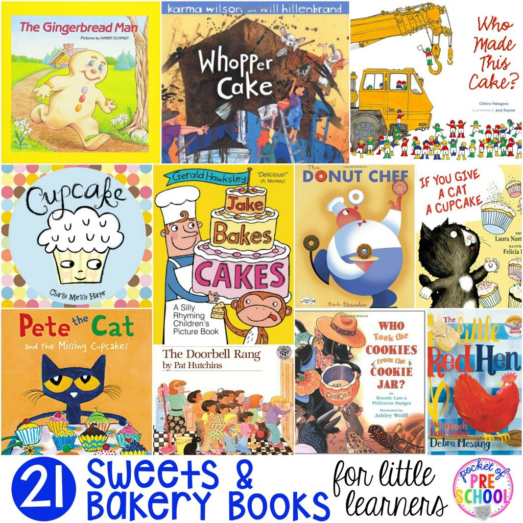 Sweets book list with 21 Sweets and Bakery books for preschool, pre-k, and kindergarten students. Perfect for a bakery theme, birthday theme, or sweets theme.