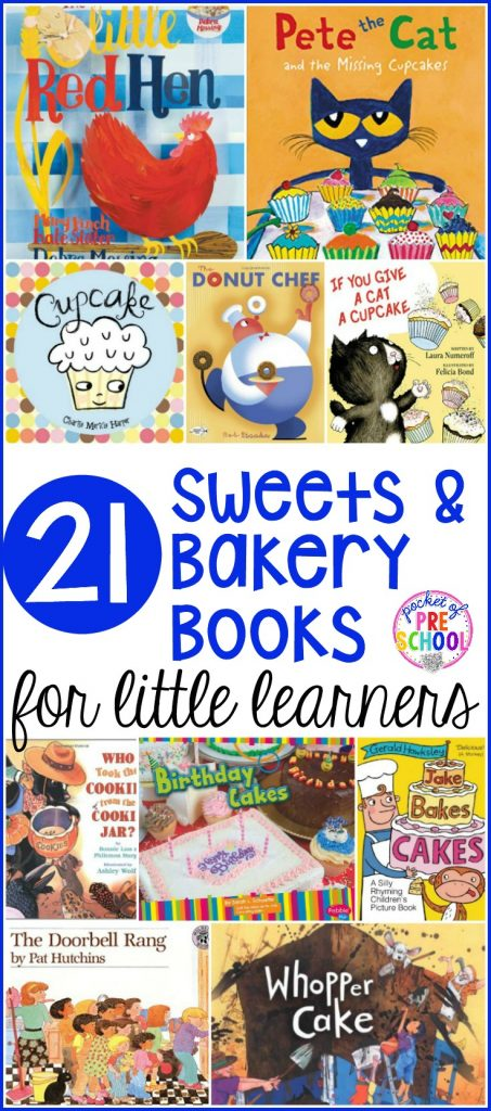 Sweets and Bakery booklist for preschool, pre-k, and kindergarten students. Perfect for a bakery theme, birthday theme, gingerbread theme, or sweets theme.