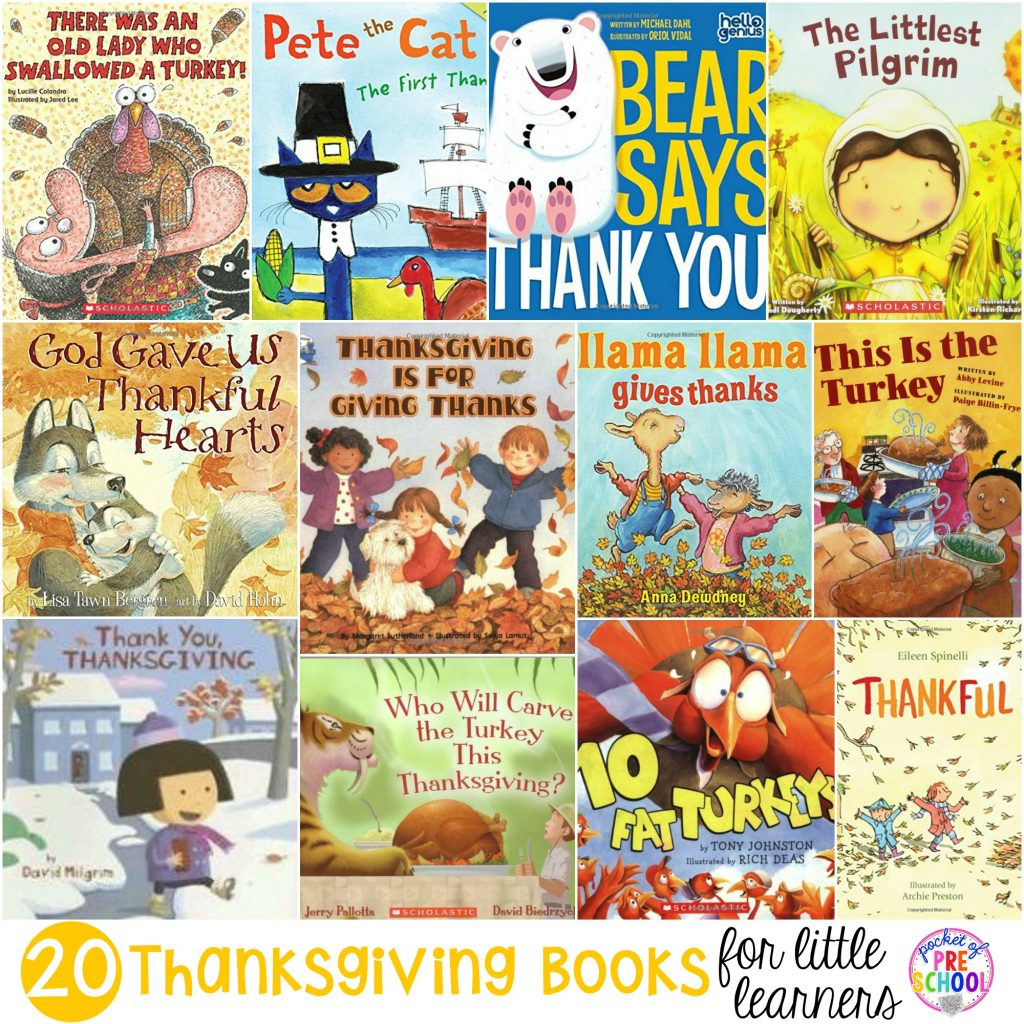 Thanksgiving book list for preschool, pre-k, and kindergarten. Learn about turkeys, Thanksgiving, and being thankful through books.