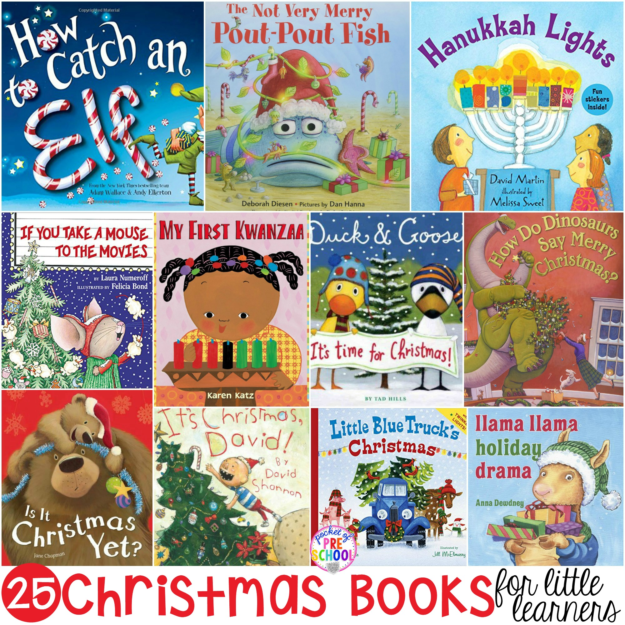 HUGE Christmas book list for little learners in your preschool, pre-k, and kindergarten classrooms or home.