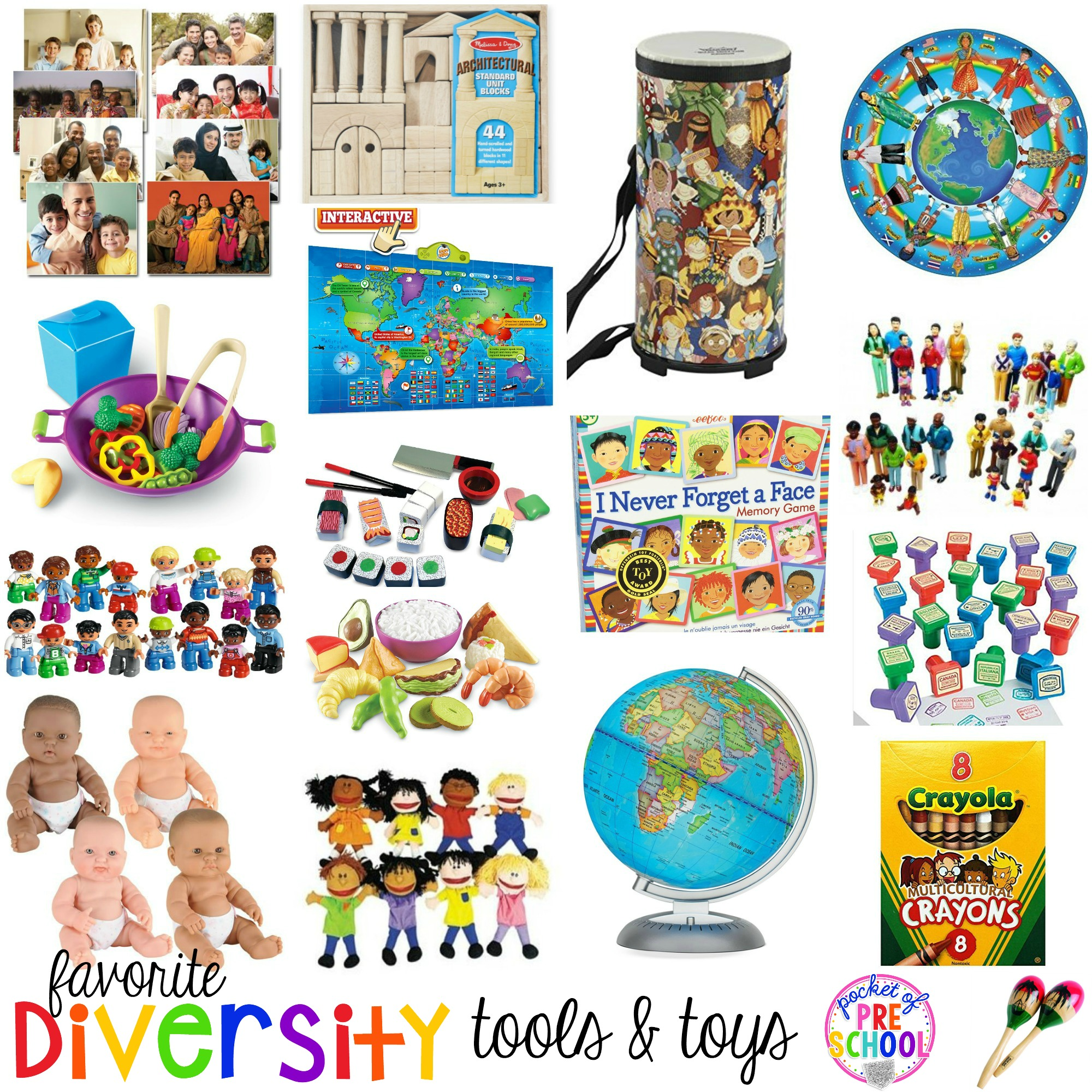Diverse tools and toys for preschool, pre-k, and kindergarten. Be intentional when you select the items in your classroom. Celebrate the differences in each other because that's what makes every person amazing and unique!