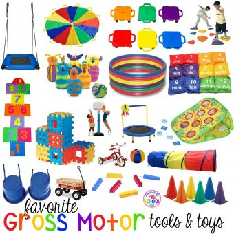 My favorite gross motor toys and tools for indoor and outdoor recess your little learners (preschool, pre-k, and kindergarten) will LOVE!