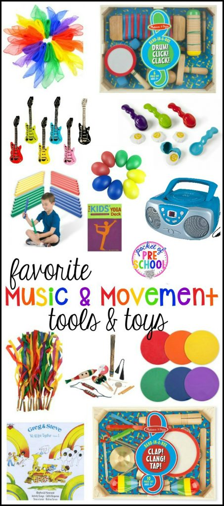 My favorite Music and Movement Tools and Toys for Preschool and Kindergarten or home! Use inside or outside for music and movement or place in music center.
