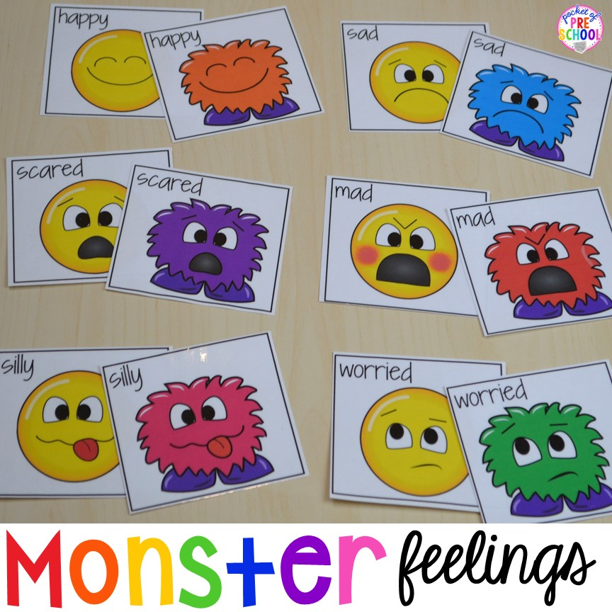 image regarding Emoji Feelings Printable identify Absolutely free Monster Impression Playing cards Video games for preschool pre-k