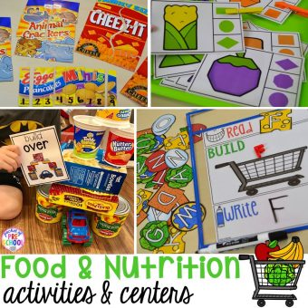 Food and nutrition centers for preschool, pre-k, and kindergarten. Reading, writing, math, fine motor, STEM, and art.