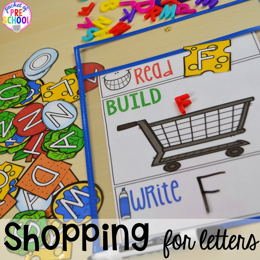 Shopping for letters, letter game. Plus tons more Food and nutrition centers for preschool, pre-k, and kindergarten. Reading, writing, math, fine motor, STEM, and art.