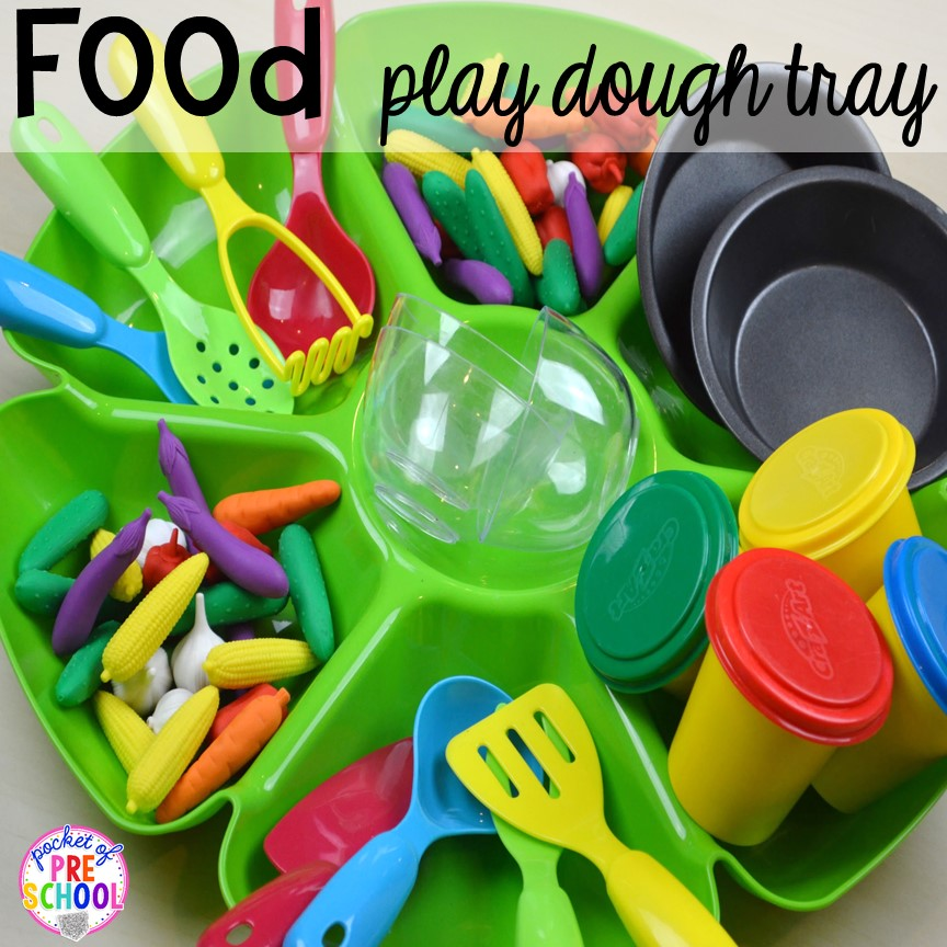 Food themed play dough tray! Plus tons more Food and nutrition centers for preschool, pre-k, and kindergarten. Reading, writing, math, fine motor, STEM, and art.