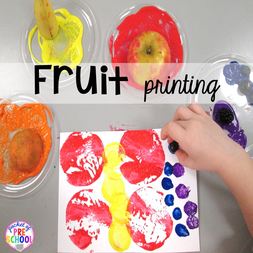Fruit painting! Plus tons more Food and nutrition centers for preschool, pre-k, and kindergarten. Reading, writing, math, fine motor, STEM, and art.