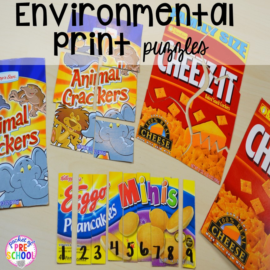 Environmental print puzzles! Plus tons more Food and nutrition centers for preschool, pre-k, and kindergarten. Reading, writing, math, fine motor, STEM, and art.