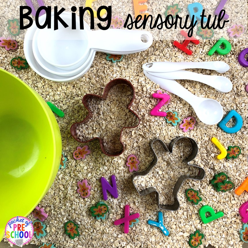 Gingerbread sensory bin for Chirstmas theme or a bakery theme! Perfect for preschool, pre-k, or kindergarten.