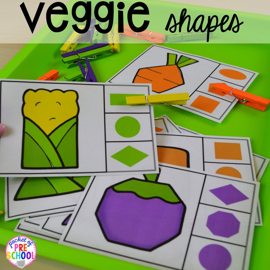 Veggie shape game! Plus tons more Food and nutrition centers for preschool, pre-k, and kindergarten. Reading, writing, math, fine motor, STEM, and art.