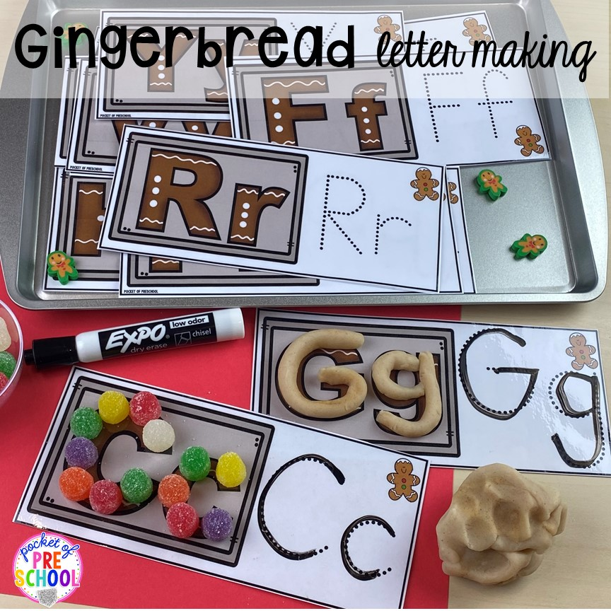 Build letters using gingerbread play dough and gumdrops for fine motor work or handwriting in your preschool, pre-k, or kindergarten classroom.