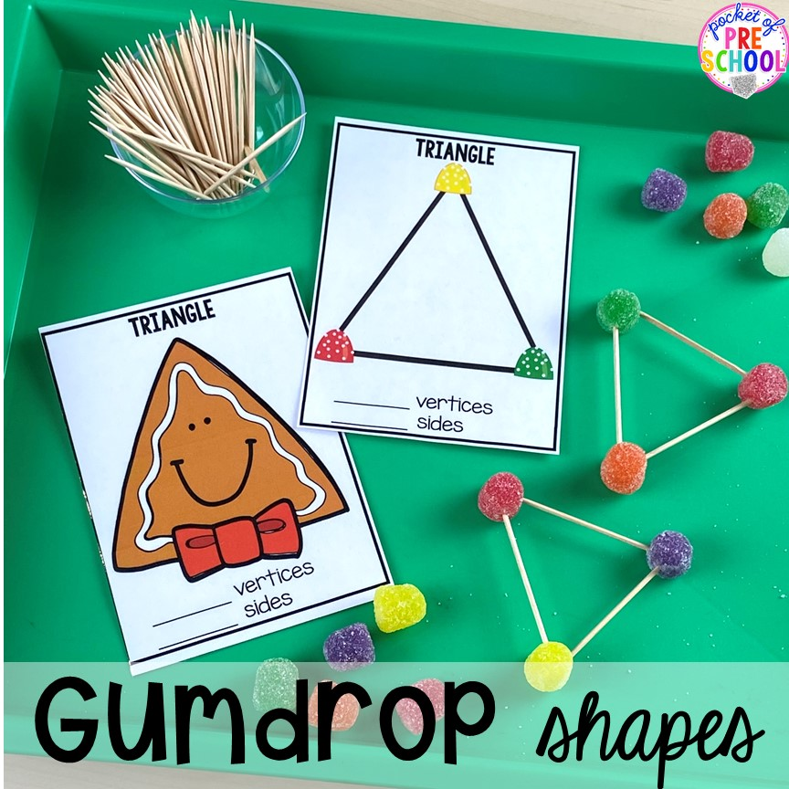 Gingerbread 2D shapes and gumdrop 2D shapes for Chirstmas theme or a bakery theme! Perfect for preschool, pre-k, or kindergarten.