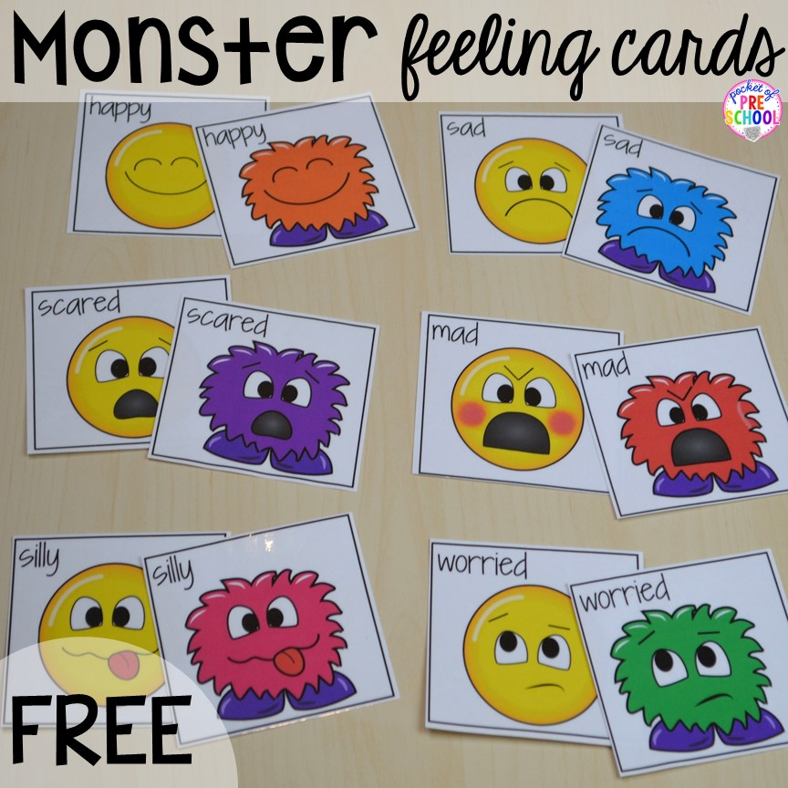 graphic regarding Emoji Feelings Printable called No cost Monster View Playing cards Online games for preschool pre-k