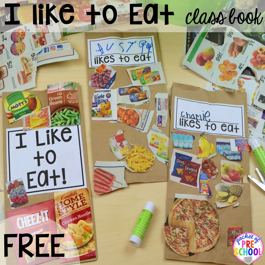 Food class book freebie! Plus tons more Food and nutrition centers for preschool, pre-k, and kindergarten. Reading, writing, math, fine motor, STEM, and art.