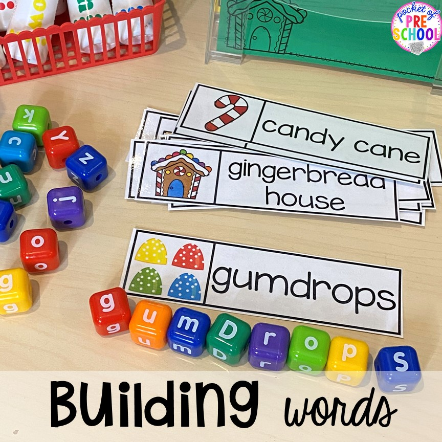 Build letters with letter beads (pretend they are candy for the gingerbread house) for a gingebread theme! For preschool, pre-k, or kindergarten word work.