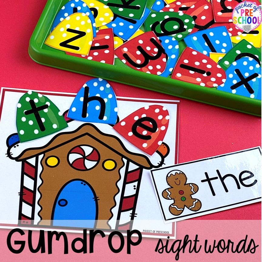 Build sight words, names, or match uppercase and lowercase letters using this gingerbread house and gumdrop letter printable perfect for preschool, pre-k, or kindergarten.