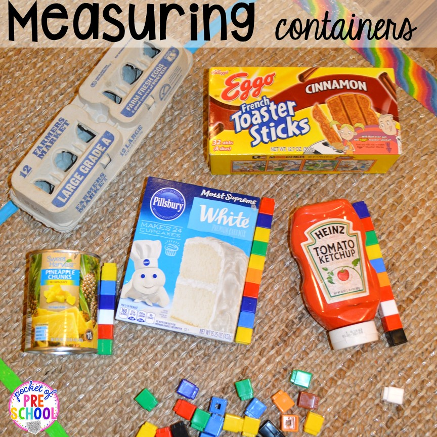 Measuring containers! Plus tons more Food and nutrition centers for preschool, pre-k, and kindergarten. Reading, writing, math, fine motor, STEM, and art.