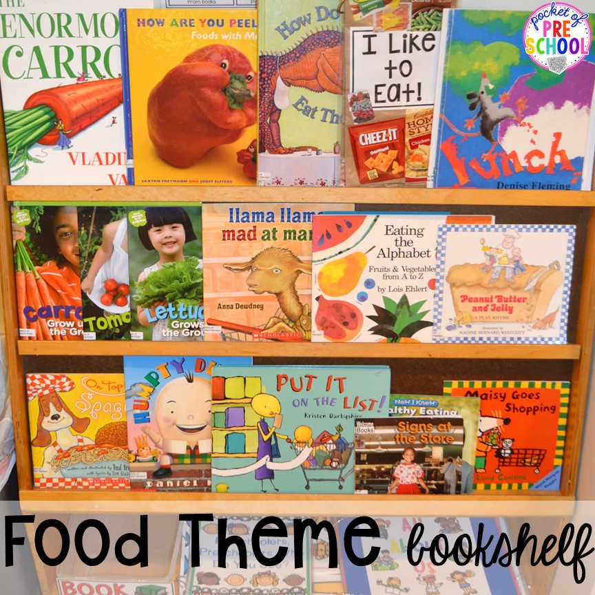 Food themed bookshelf! Plus tons more Food and nutrition centers for preschool, pre-k, and kindergarten. Reading, writing, math, fine motor, STEM, and art.