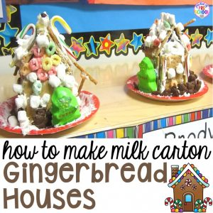 How to make gingerbread houses with milk cartons in the classroom or at home with preschool, pre-k, and elementary kids.
