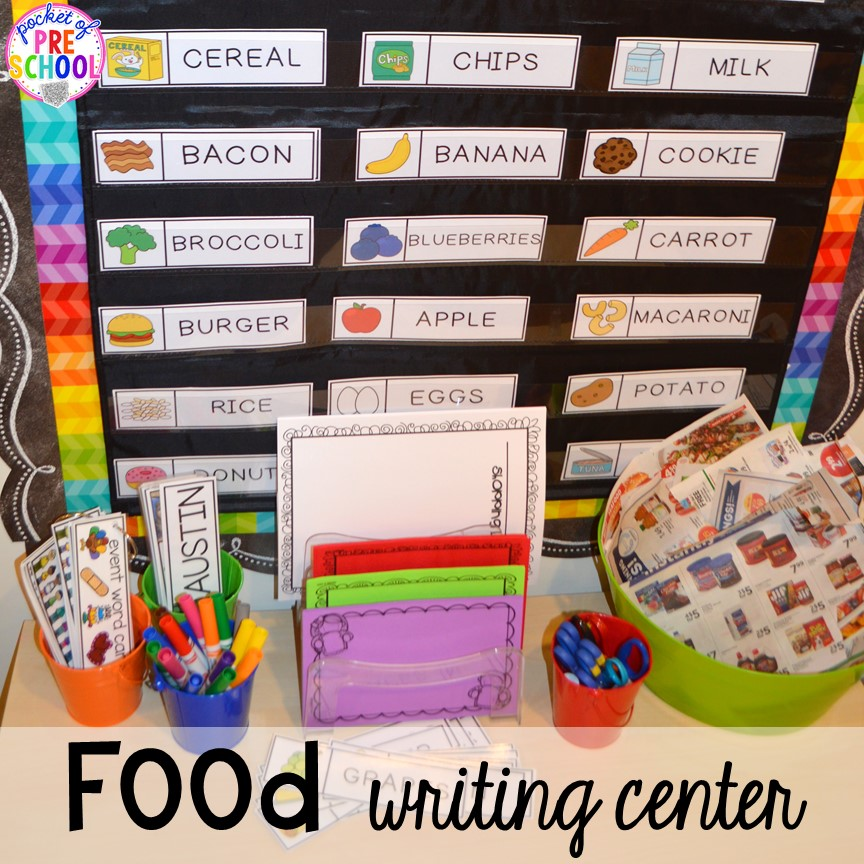 Food themed writing center! Plus tons more Food and nutrition centers for preschool, pre-k, and kindergarten. Reading, writing, math, fine motor, STEM, and art.