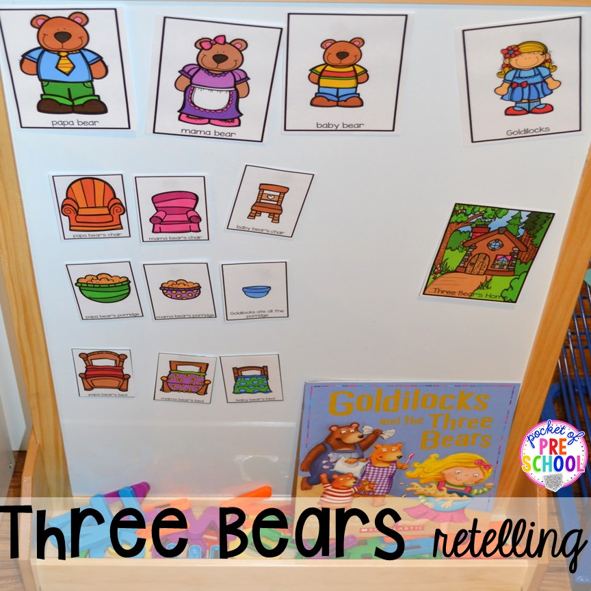 Goldilocks and the 3 Bears retelling! Plus tons more Food and nutrition centers for preschool, pre-k, and kindergarten. Reading, writing, math, fine motor, STEM, and art.