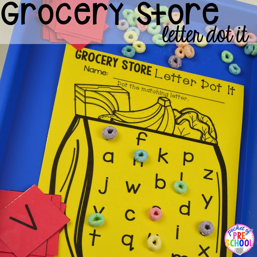 Grocery Store letter game! Plus tons more Food and nutrition centers for preschool, pre-k, and kindergarten. Reading, writing, math, fine motor, STEM, and art.
