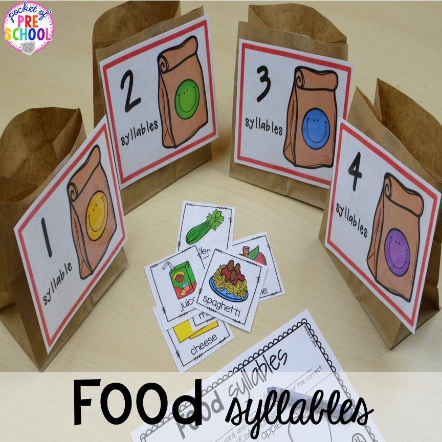 Food syllables game! Plus tons more Food and nutrition centers for preschool, pre-k, and kindergarten. Reading, writing, math, fine motor, STEM, and art.