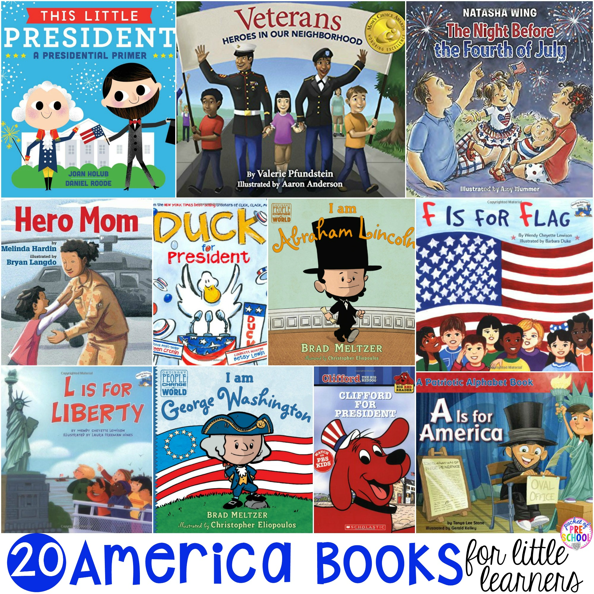 20 America books for little learners! Perfect for President's Day, election time, 4th of July, Veteran's Day, for an America theme, or for a unit about American symbols and the flag.