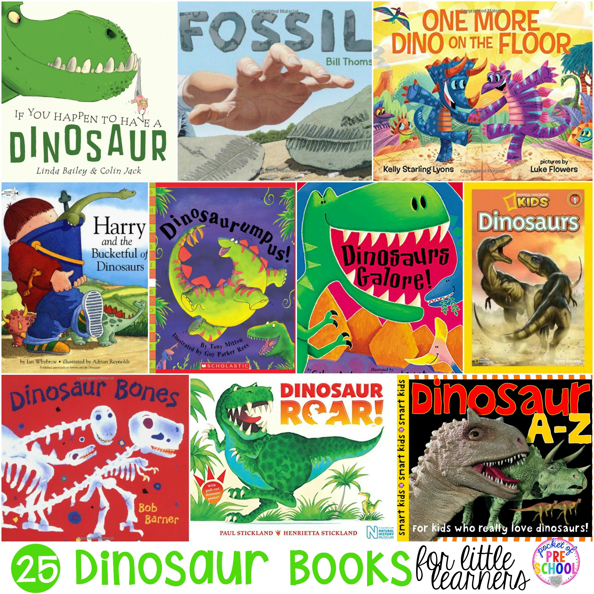 25 Dinosaur books for preschool, pre-k, and kindergarten. Includes fiction and non-fiction picture books for your little dinosaur lovers!