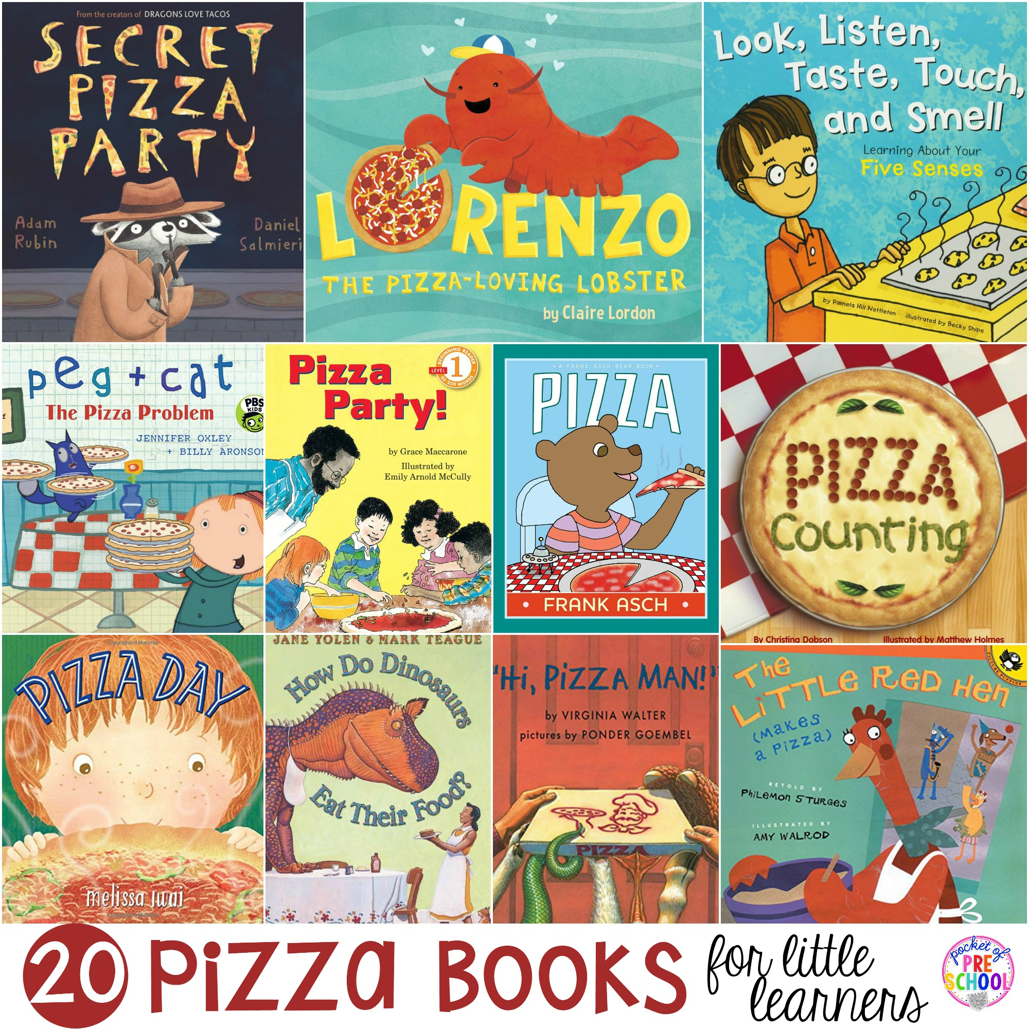 20 Pizza Books for Preschool, Pre-K, and Kindergarten! Try a pizza theme in your classroom to get your students excited about learning and cooking.