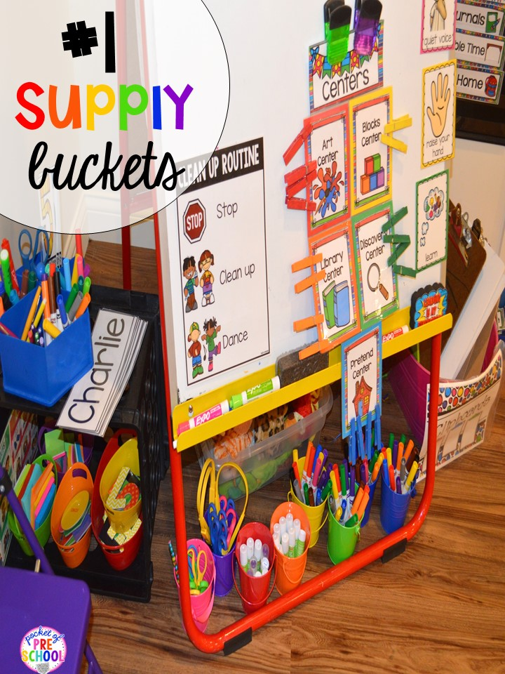 Student supplys hack plus 14 more classroom organization hacks to make teaching easier that every preschool, pre-k, kindergarten, and elementary teacher should know. FREE theme box labels too!