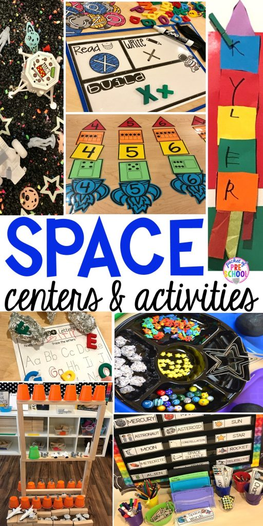 Space theme activities and centers (literacy, math, fine motor, stem, blocks, sensory, and more) for preschool, pre-k, and kindergarten