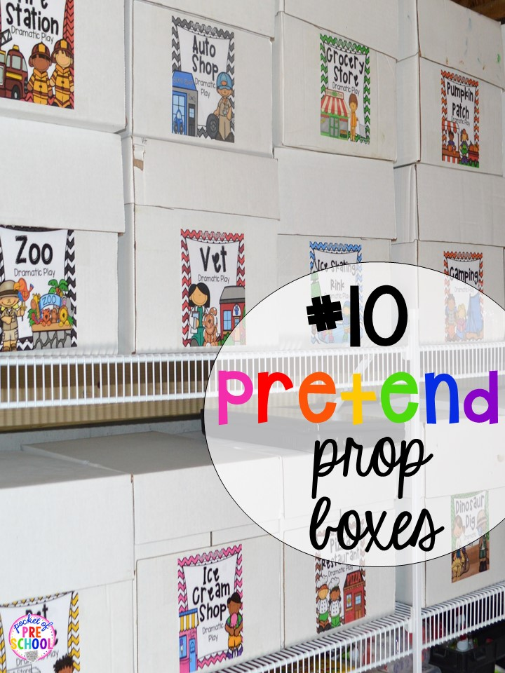 Dramatic Play prop box hack plus 14 more classroom organization hacks to make teaching easier that every preschool, pre-k, kindergarten, and elementary teacher should know. FREE theme box labels too!
