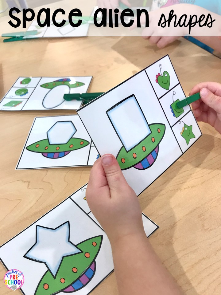 Space shape game! Space theme activities and centers (literacy, math, fine motor, stem, blocks, sensory, and more) for preschool, pre-k, and kindergarten