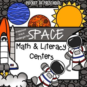 Space Math and Literacy Center for preschool, pre-k, and kindergarten