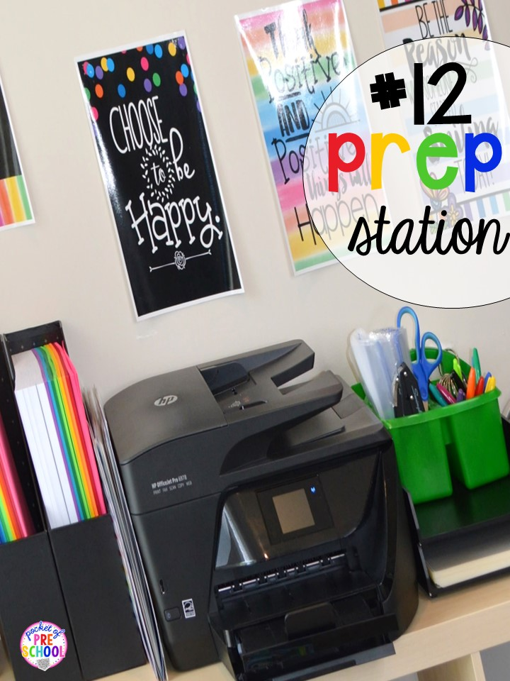 Prep station hack plus 14 more classroom organization hacks to make teaching easier that every preschool, pre-k, kindergarten, and elementary teacher should know. FREE theme box labels too!