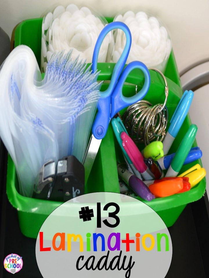 Lamination caddie hack plus 14 more classroom organization hacks to make teaching easier that every preschool, pre-k, kindergarten, and elementary teacher should know. FREE theme box labels too!