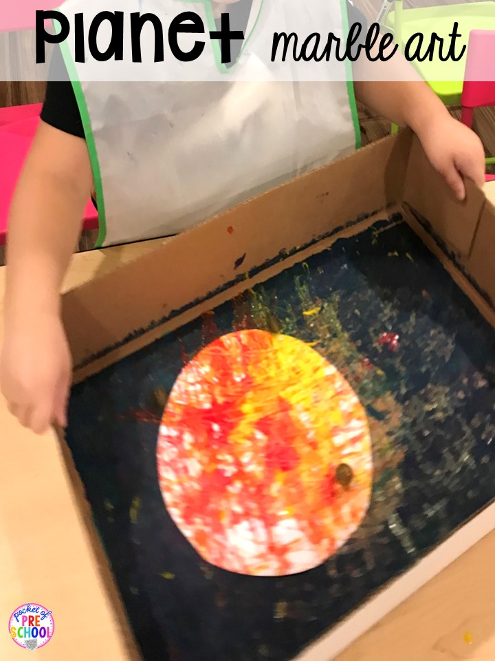 Planet art! Space theme activities and centers (literacy, math, fine motor, stem, blocks, sensory, and more) for preschool, pre-k, and kindergarten