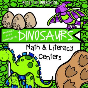 Dinosaur Math & Literacy Centers for preschool, pre-k, and kindergarten