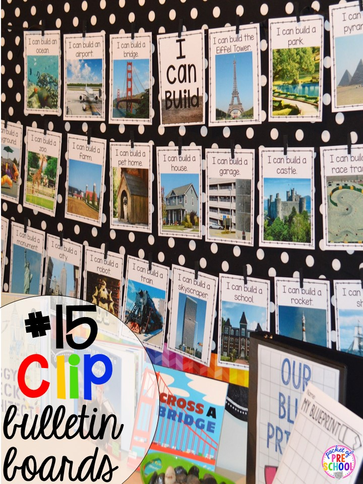 Clothespin bulletin board hack plus 14 more classroom organization hacks to make teaching easier that every preschool, pre-k, kindergarten, and elementary teacher should know. FREE theme box labels too!