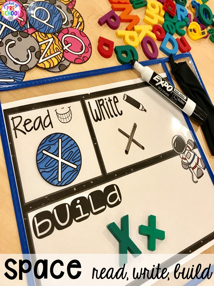 Space letter read, build, write! Space theme activities and centers (literacy, math, fine motor, stem, blocks, sensory, and more) for preschool, pre-k, and kindergarten
